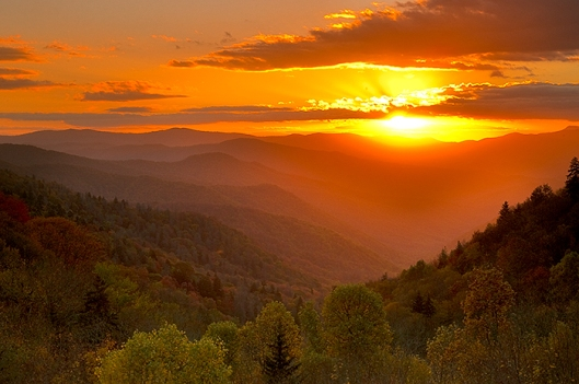 Sunrise Over Oconaluftee Valley Overlook